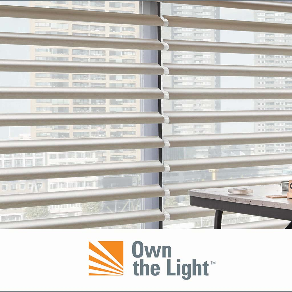 Hunter Douglas shades covering a window looking out on a cityscape